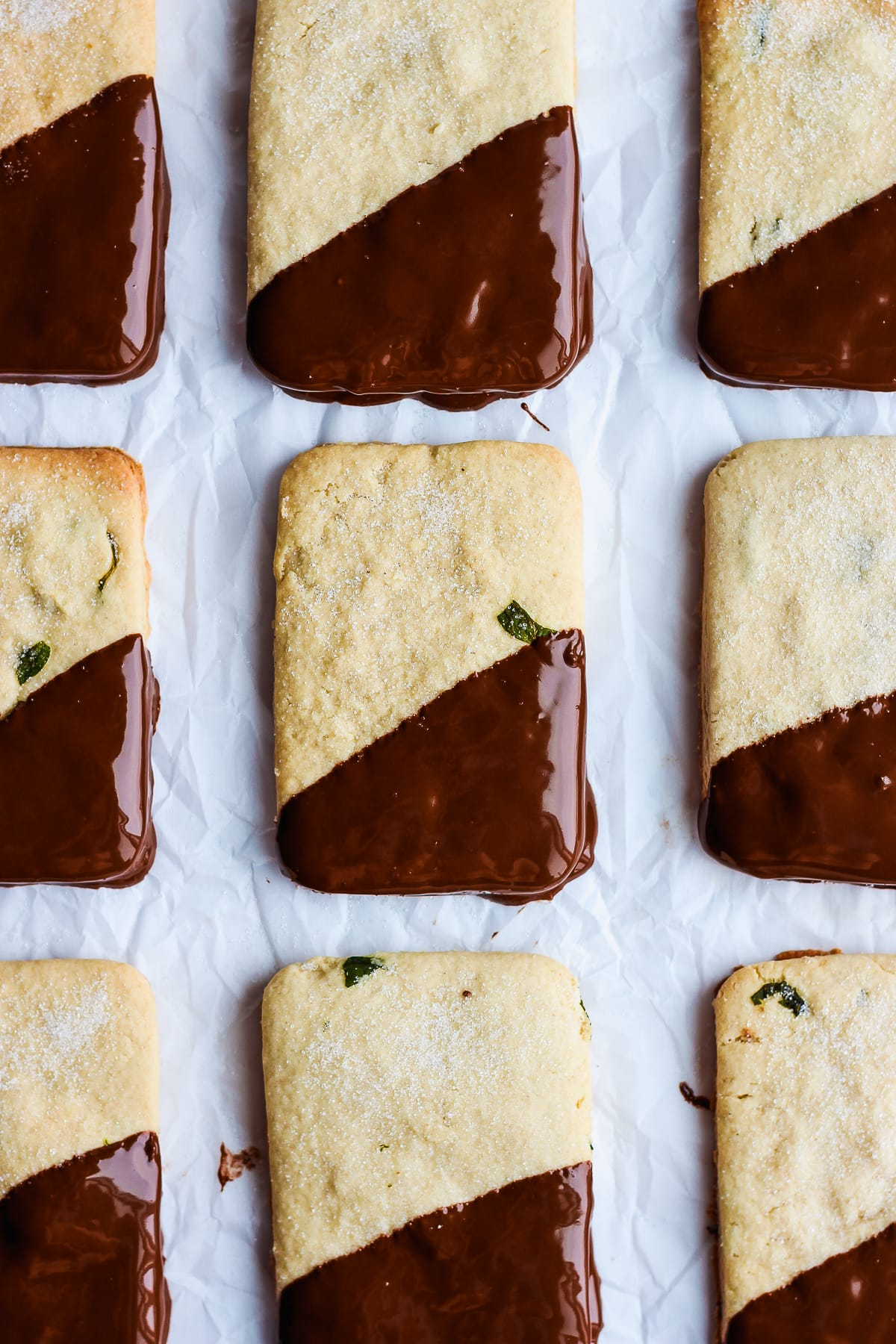 Mint Chocolate Vegan Shortbread Cookies - a light and delicious holiday treat!! #vegan
