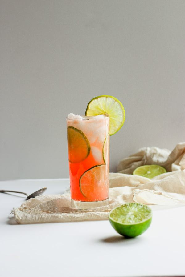 Refreshing Guava Lime Kombucha Mocktail
