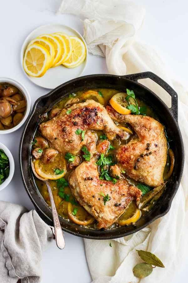 Whole30 Braised Garlic Lemon Chicken