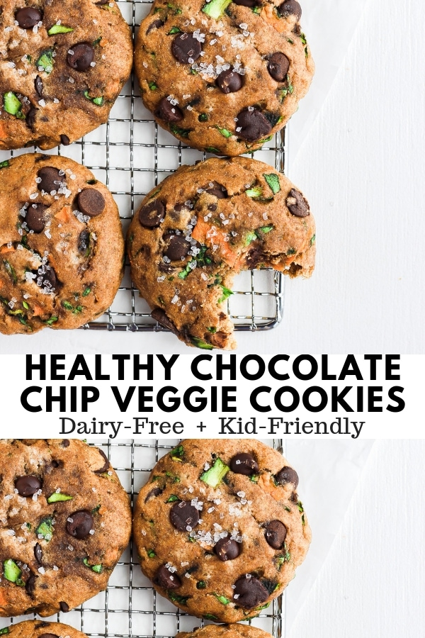 HealthyChocolate Chip Cookies with Spinach, Carrots and Zucchini