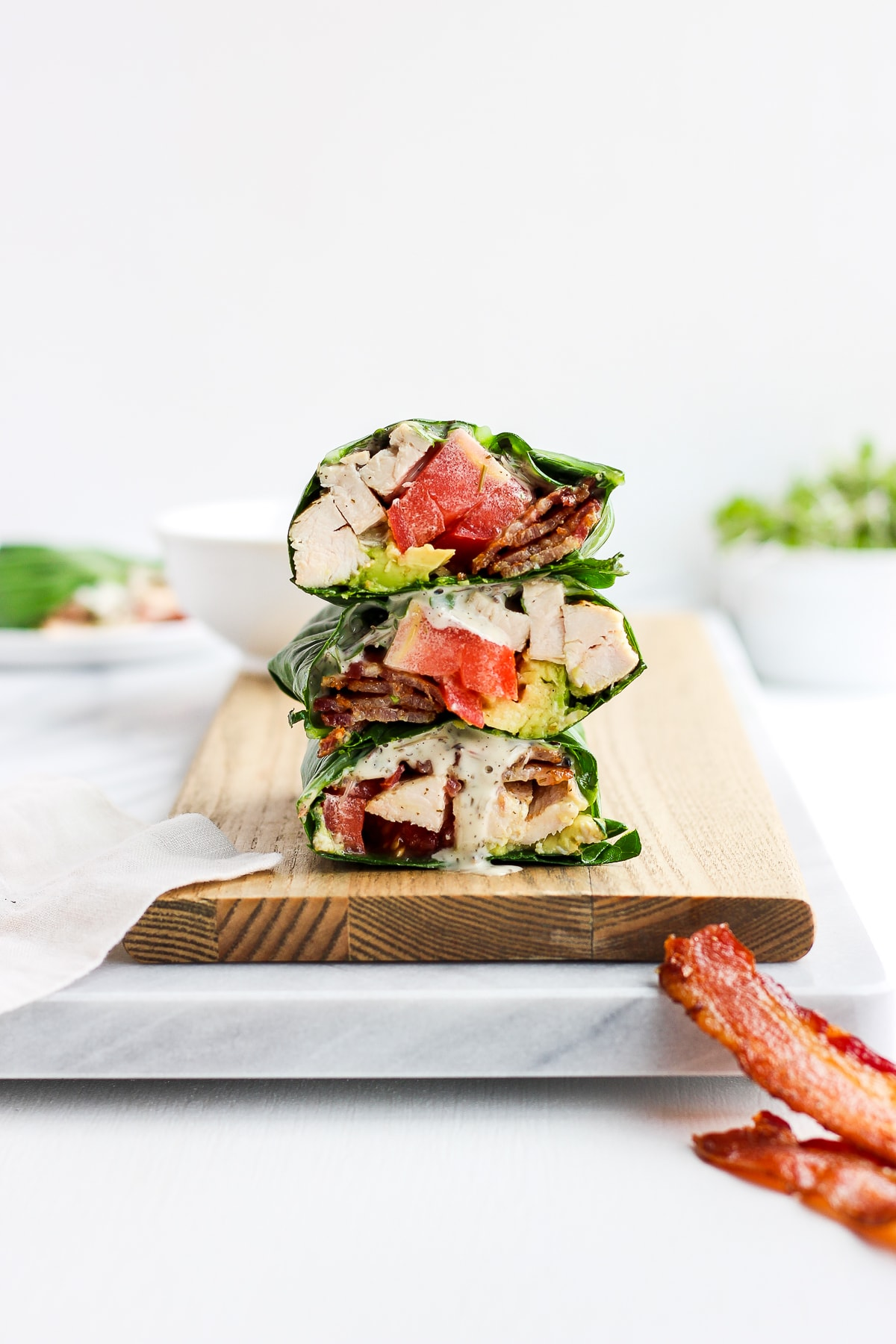 Chicken Bacon Club Collard Green Wrap - a lightened up version of your classic chicken club, but Whole30 and Paleo friendly! #whole30 #paleo