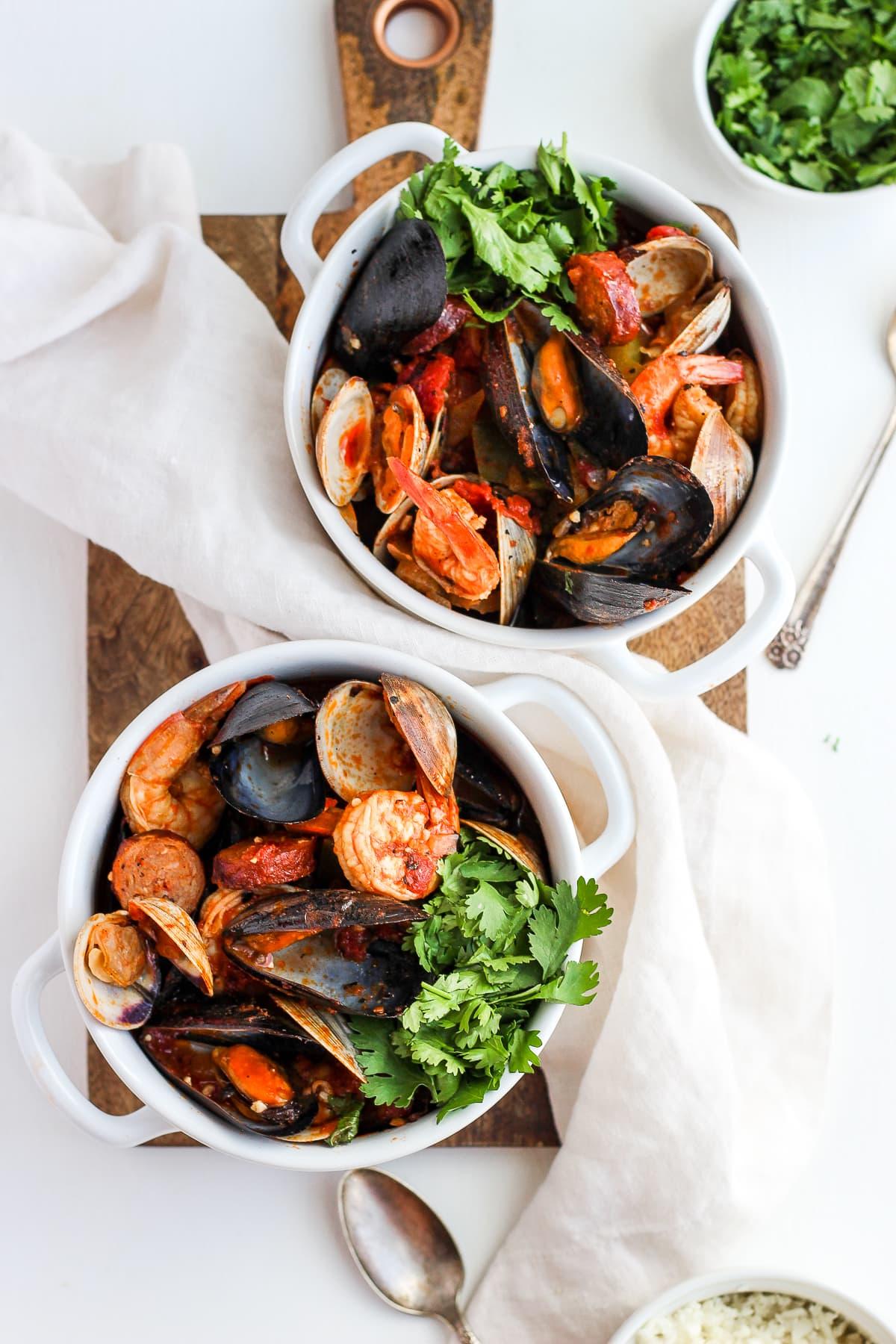 Seafood and Chorizo Wannabe Paella - a whole30/paleo version of your classic paella dish! #whole30 #paleo