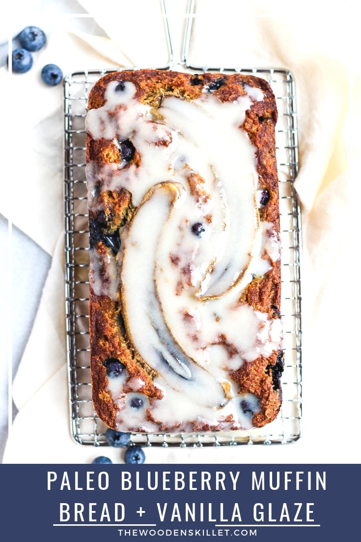 Paleo Blueberry Muffin Bread + Vanilla Glaze - the perfect way to start your morning! #paleo #paleorecipes #paleobread #holidayrecipes #baking