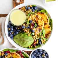 Grilled Pineapple Salad + Creamy Citrus Dressing