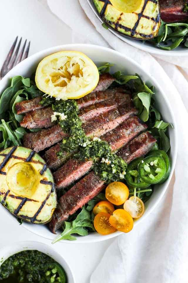 Grilled Flank Steak Salad + Jalapeño Chimichurri and Avocado