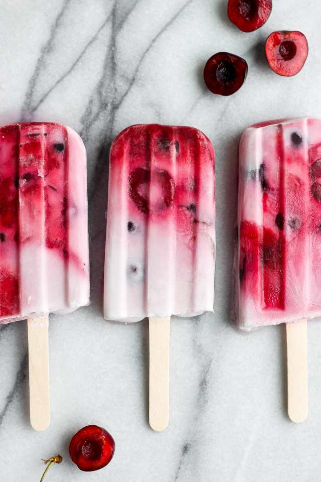 Healthy Strawberry Cherry and Cream Popsicles