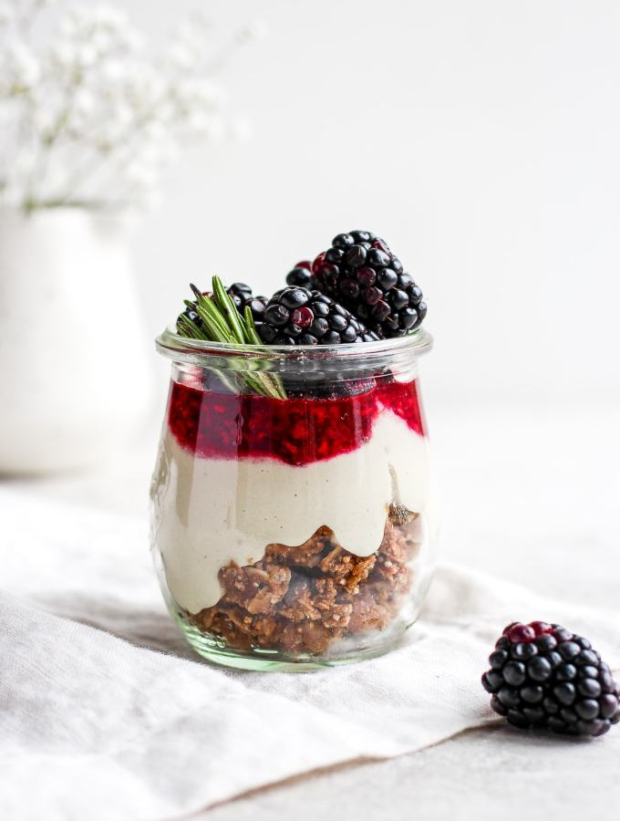 Vegan Blackberry Cheesecake Jars - a light and delicious holiday dessert that is dairy-free, grain-free and vegan! #holidaydessert #healthydessert #dairyfree #thanksgiving #vegan