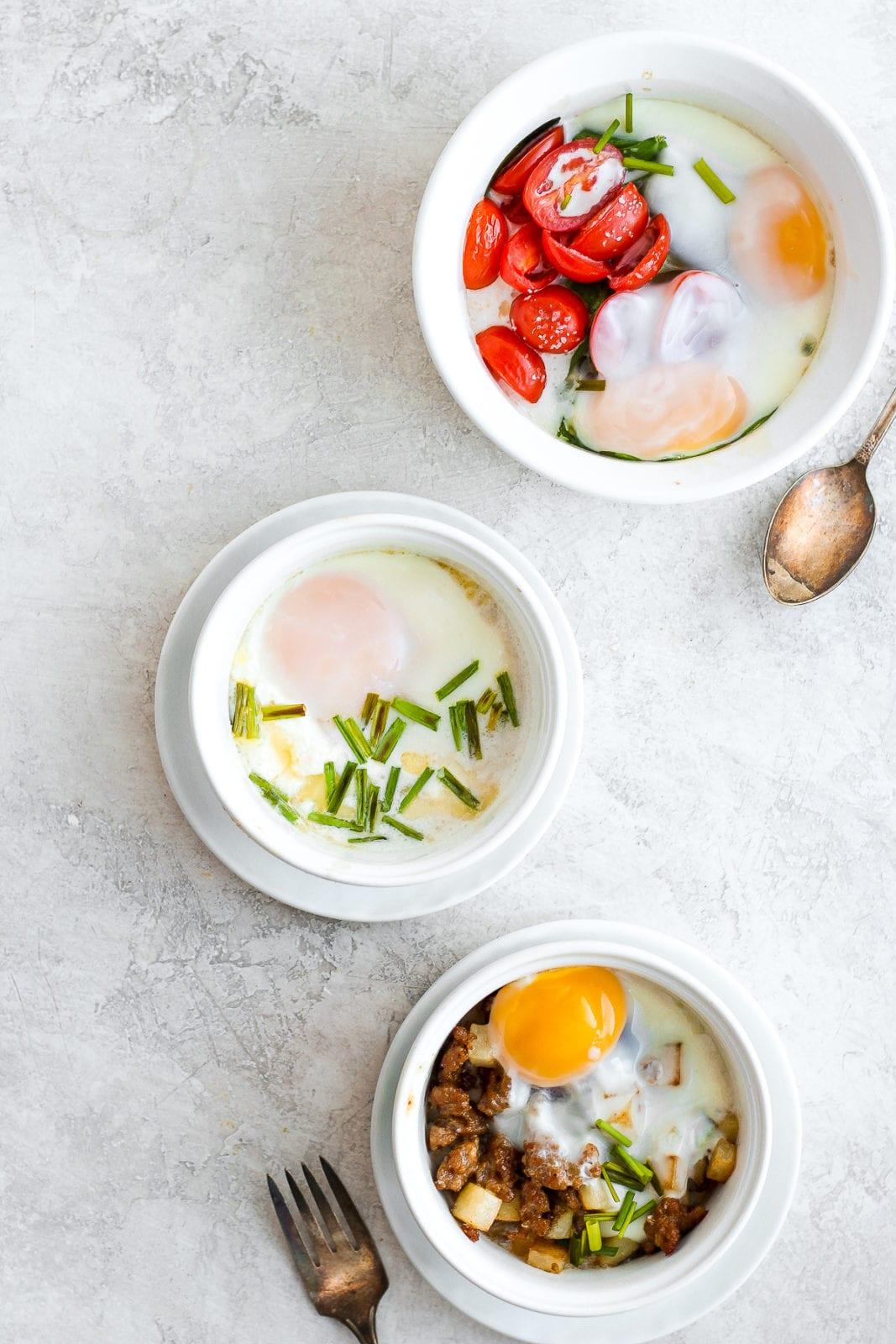 Baked Eggs Three Ways - a simple and delicious breakfast three yummy ways! #dairyfree #bakedeggs #breakfast #healthybreakfast #whole30 #paleo