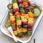 Grilled Veggie Kabobs + Creamy Chimichurri