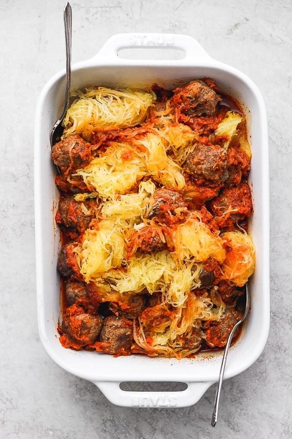 Baked Spaghetti Squash + Meatballs