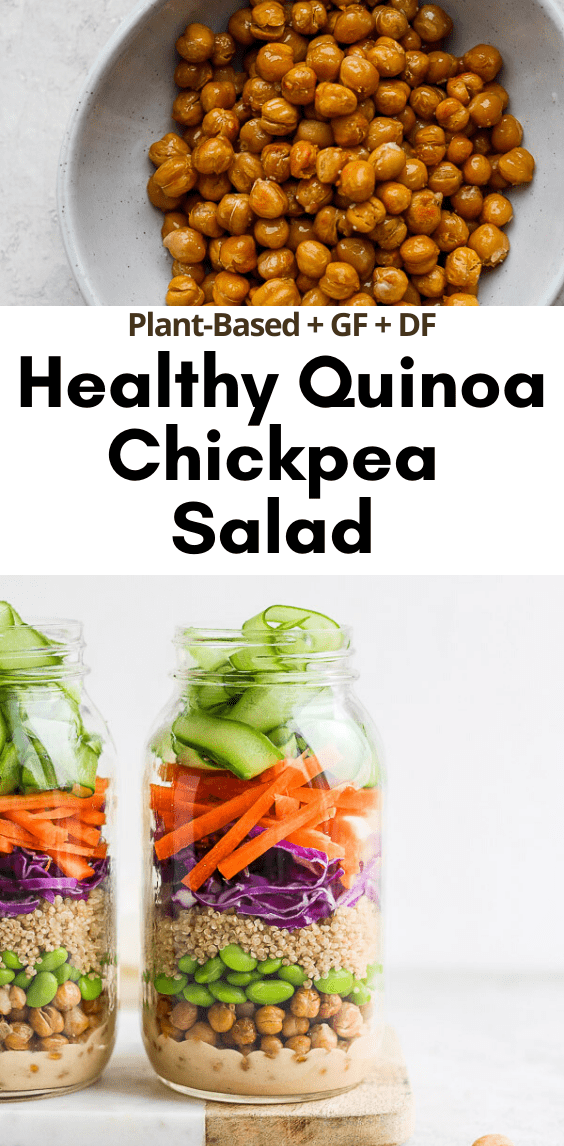 Quinoa Chickpea Salad + Creamy Peanut Dressing - a simple and delicious quinoa + chickpea salad that is perfect for a weeknight dinner and is great for meal-prep! #quinoasalad #quinoarecipes #quinoachickpeasalad #chickpearecipes #plantbasedrecipes #mealprepideas #plantbasedsalads