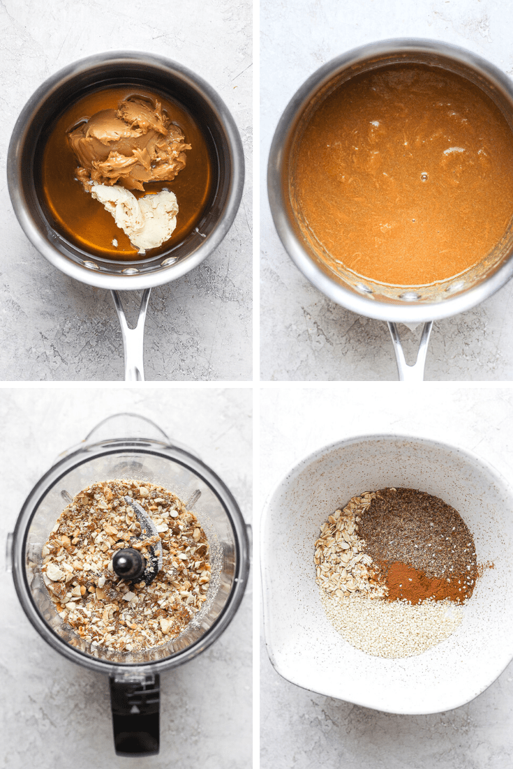 Four photos in a grid all showing the various stages of making trail mix bars.