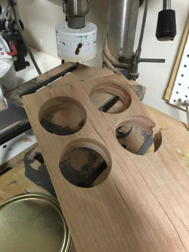 "Cut the casters out of 4/4 cherry with 2"" hole saw"