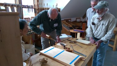 Another angle of Christian Becksvoort doing dovetails.