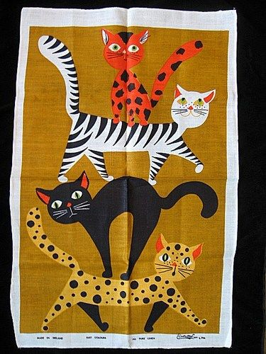 787-best-vintage-tea-towel-time-images-on-pinterest-with-regard-to-cat-kitchen-towels