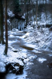 Wintry landscape with river