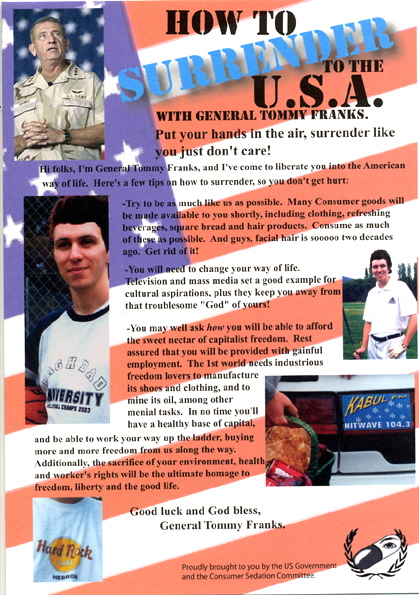 'How to surrender to the USA' leaflet by Bernie Slater, 2003.