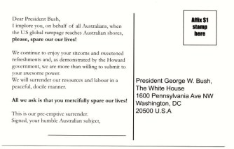 'Please spare our lives' postcard (back), by Bernie Slater, 2004.