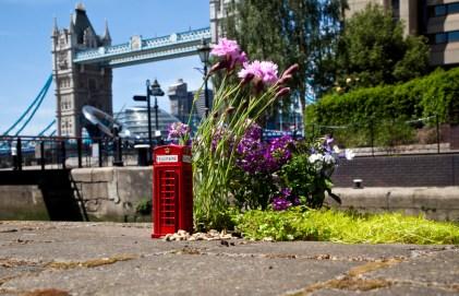 London bridge with miniature red phonebox
