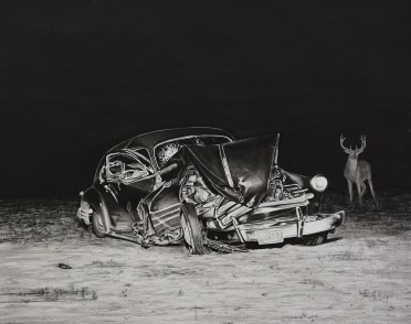 Trevor Guthrie *1964 Crash II, 2017 charcoal on paper 65 x 95 cm private collection, Zürich