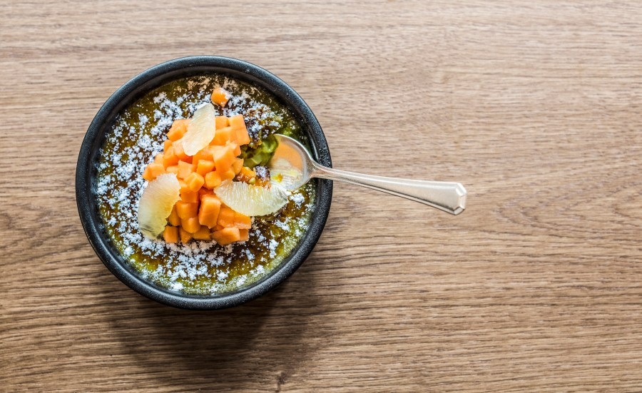 Matcha green tea crème brulee, papaya-lime salad