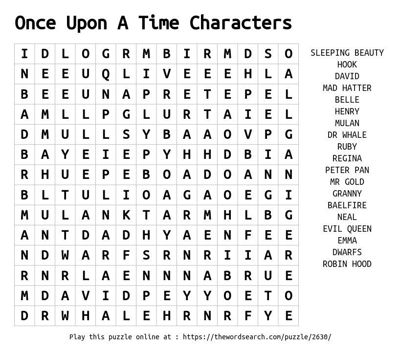 Once Upon A Time Characters Word Search