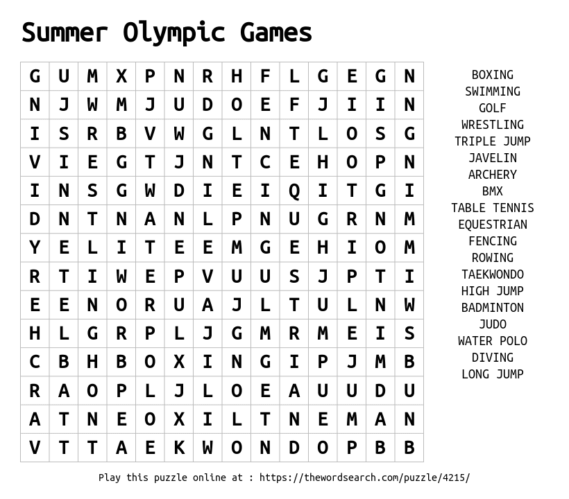 Download Word Search On Summer Olympic Games