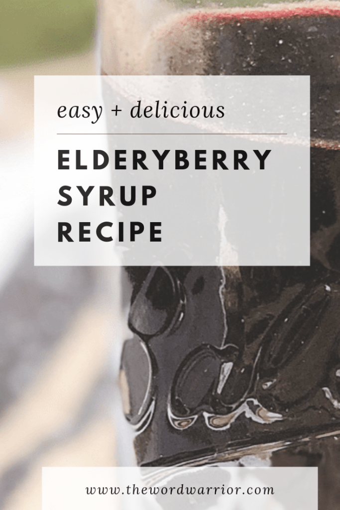 Immune Boosting Elderberry Syrup with Essential Oils - The Word Warrior easy recipe for making elderberry syrup with Young Living essential oils