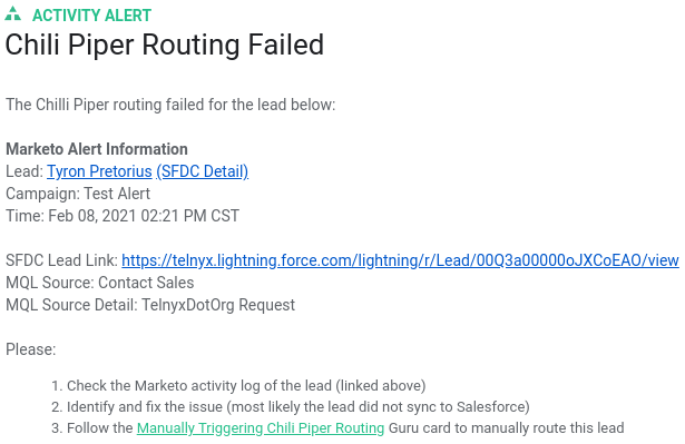 Marketo Lead Routing Failure Alert