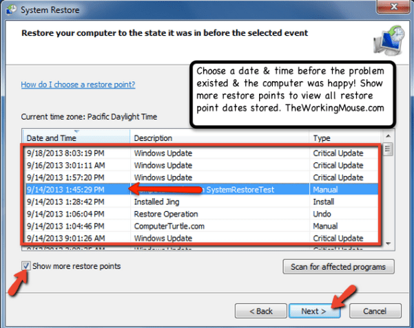 choose restore date windows 7