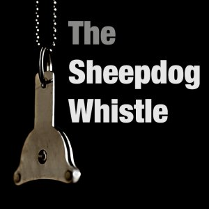 Cover image of our sheepdog whistle tutorial, showing a typical whistle, and the title