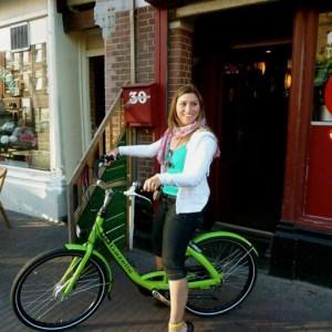 Amanda on Bike in Amsterdam