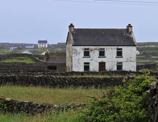 A home on Aran Islands on a dreary, rainy day.