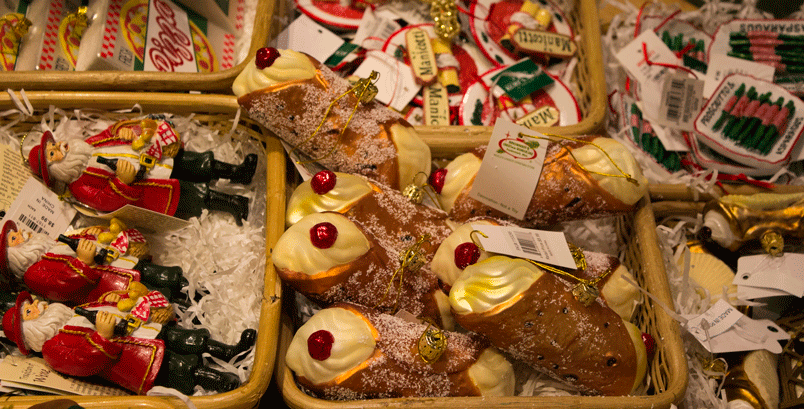 Cannoli ornament found at the world's largest Christmas store.