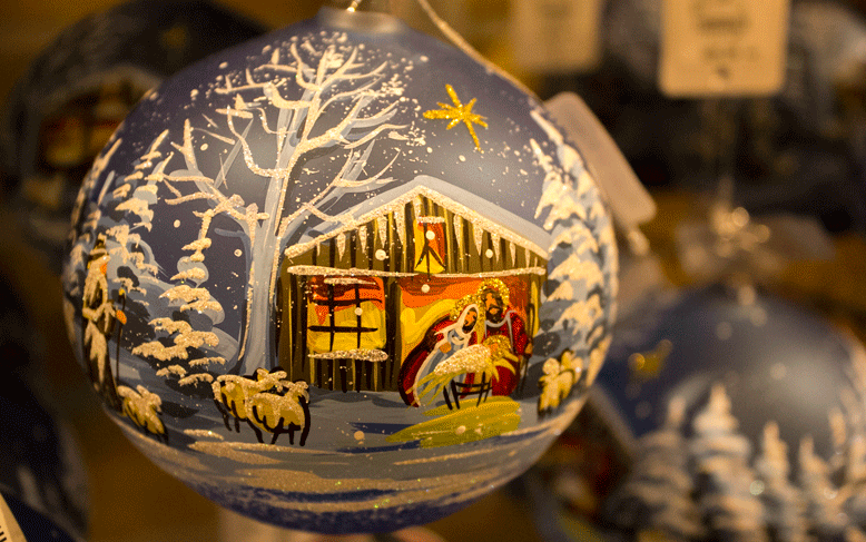 Hand-painted Russian ornament found at the world's largest Christmas store. I've never been to Russia, but this hand-painted ornament evokes the cold I can't even imagine this place experiences.
