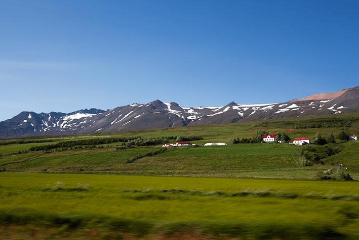 Akureyri, Iceland countryside and mountains.