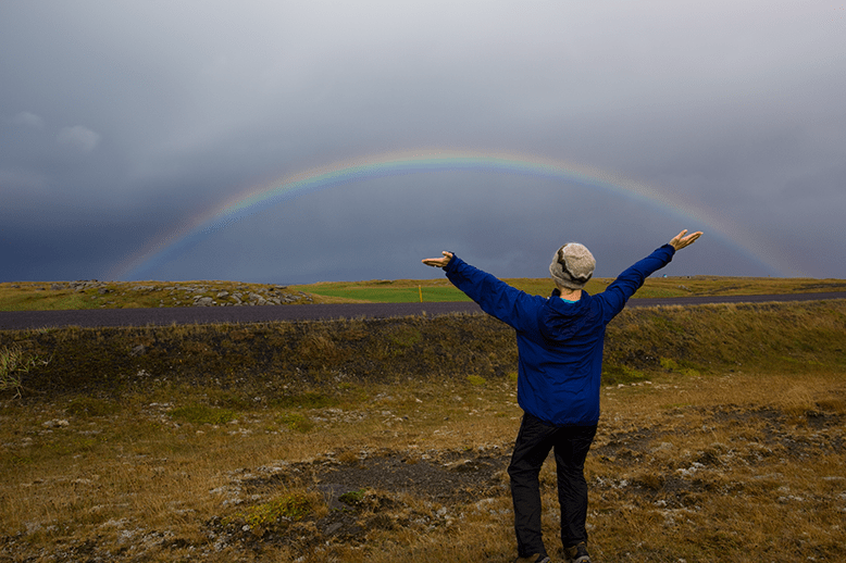 A rainbow stretches over Snaefellsnes Peninsula in Iceland.