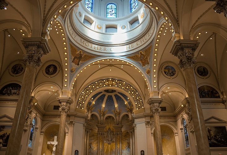 the interior decor and design of the Basilica of St. Mary in Marietta