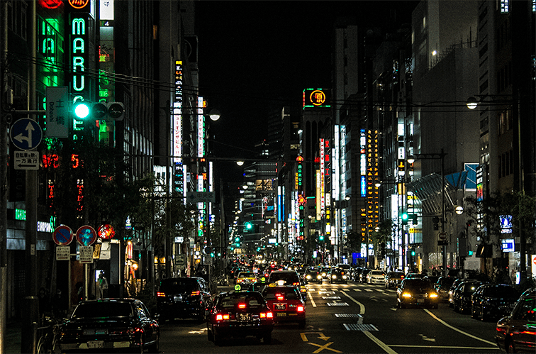 Beautiful photo of Ginza at night. Ginza is where you should shop in Tokyo.