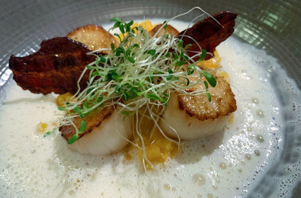 scallops and bacon over coconut at Tipanie restaurant at le Meridien Bora Bora