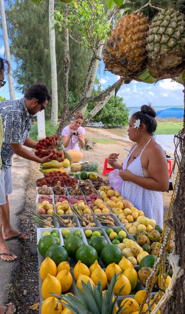 Tahitian road side fruit stand in Moorea