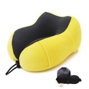 Memory Foam Travel Pillow - Yellow Set