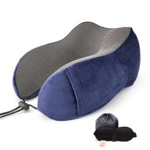 Memory Foam Travel Pillow - Deep Blue Set