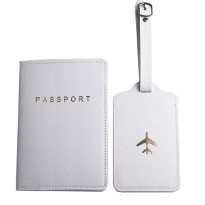 WHITE PASSPORT COVER AND LUGGAGE TAG SET