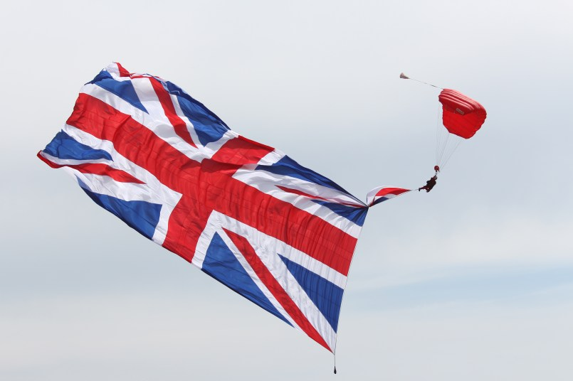 Flying in with a massive Union flag!