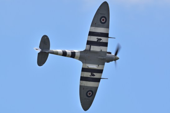 D-Day stripes on the underside of a Spitfire