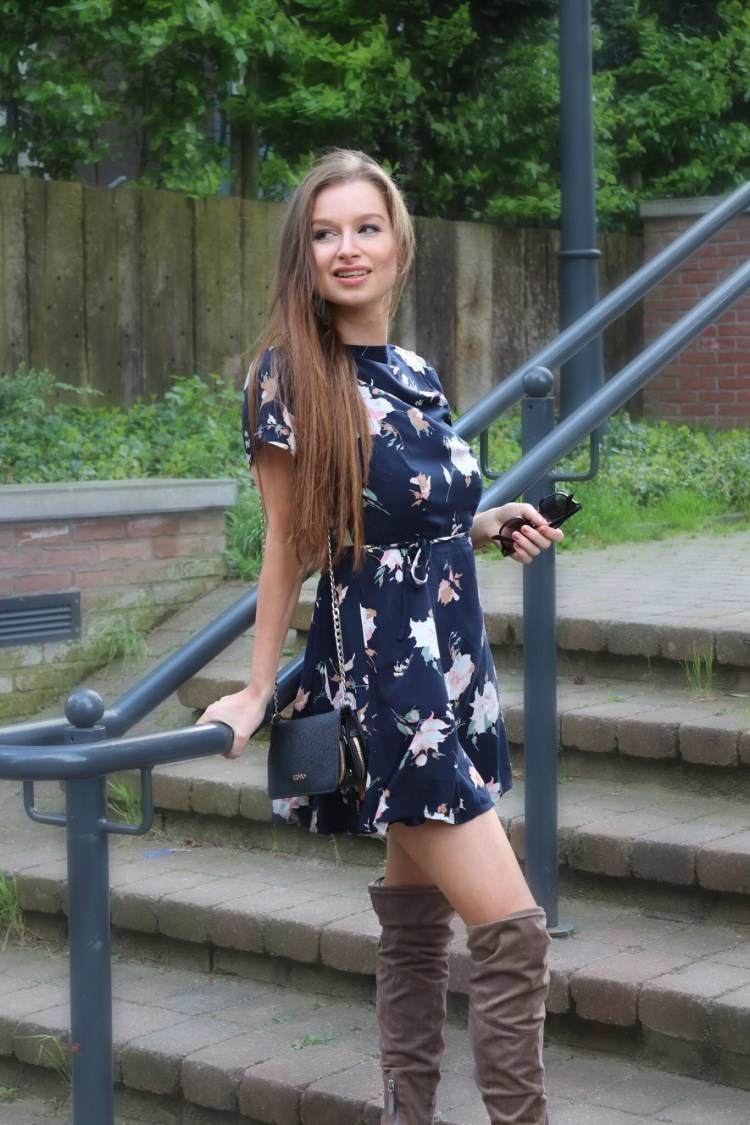 Abercrombie floral dress with over the knee boots