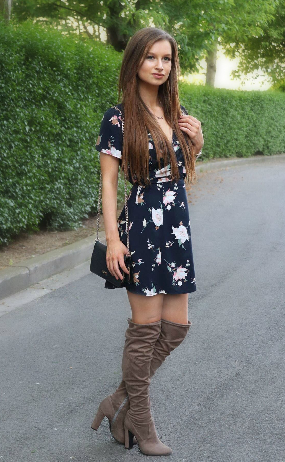 a dress with boots