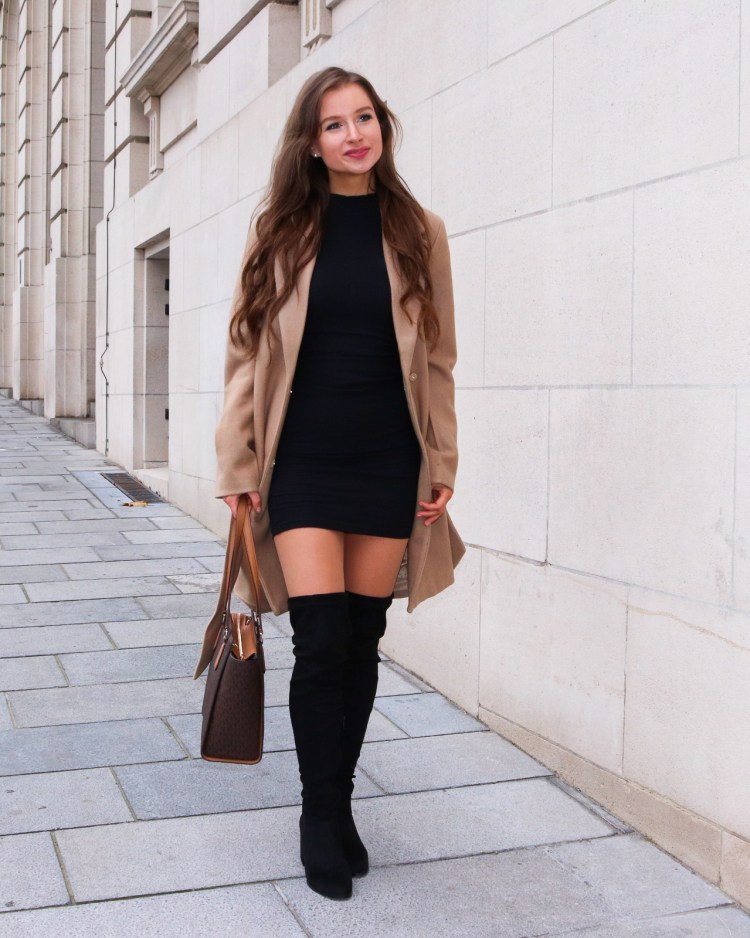 Little black dress with beige coat and over the knee boots