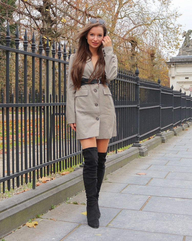 Blazer dress with black over the knee boots